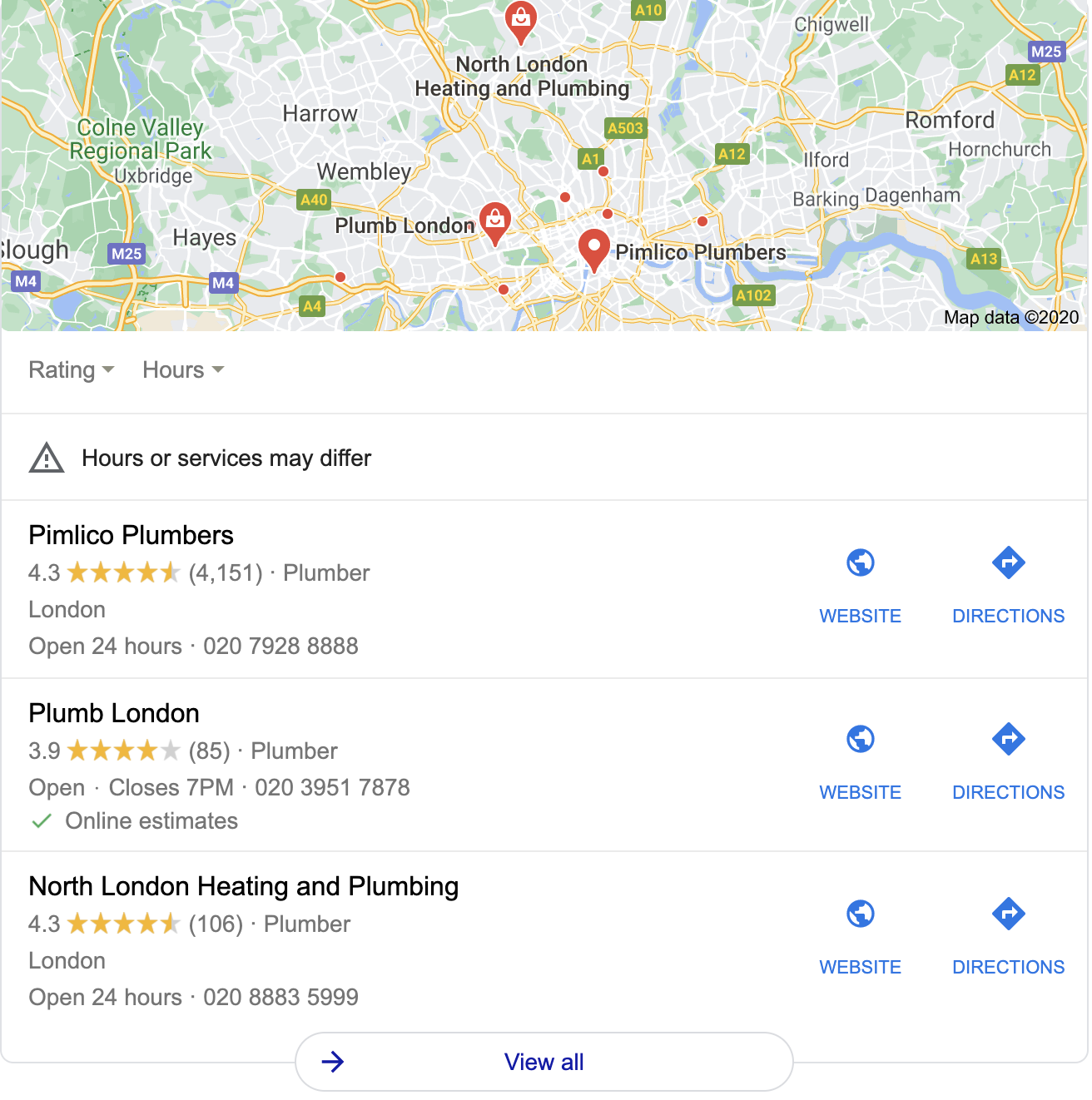 Google-Local 3 Pack Local SEO Service Results